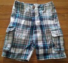 P.S. Aeropostale Kids Boys Blue Plaid Cargo Shorts Size 7