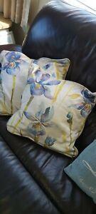 Cushion X 2  16 inch square pair velvet iris purple blue