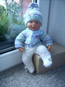 *  Pullover lange Hose und Mütze - Puppenkleidung Strickset 3tlg. Handarbeit