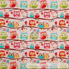 BonEful Fabric Cotton Quilt Pink Blue White OWL Flower Baby Girl Green VTG SCRAP