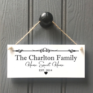 Personalised Family Name Plaque Sign Housewarming New Home Gift Handmade Sign