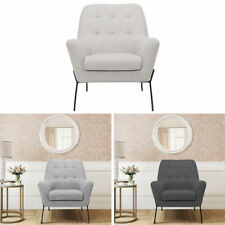 Linen Wing Back Armchair Fireside Occasional Tub Chair Chesterfield Padded Sofa