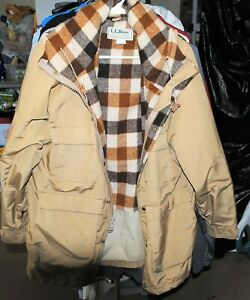 VINTAGE LL Bean Baxter State Parka Beige Hooded Wool Plaid Lined Barn Hunting M