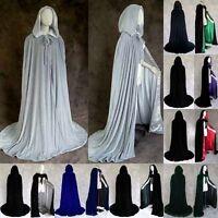 Womens  Mens Velvet Halloween Wedding Capes Cloaks Hooded Wicca Robe Christmas