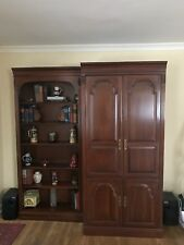 Ethan Allen Entertainment Center With Matching Bookshelf