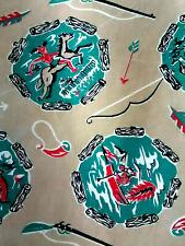 Vintage mid century western cowboy Davy Crocket cotton curtain drapes panels!