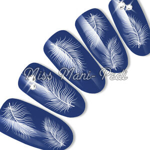 Nail Art Water Decals Transfers Delicate White Feathers Wings Angel Angelic K036
