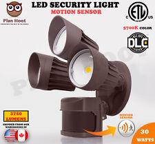 30WT Bronze 3-Head Motion Sensor Activated ETL DLC LED Outdoor Security Light