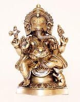 Sehr großer sitzender Ganesha Elefantengott aus Indien 13,7 kg 48cm hoch Messing