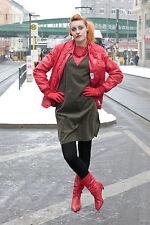 Damen Kleid dress Kord cord grün green rot red gelb 70er True VINTAGE 70s women