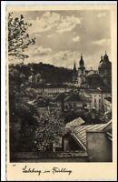 Salzburg Österreich alte Postkarte 1931 gelaufen Teilansicht im Frühling