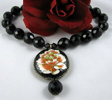 Cloisonne Black Faceted Glass Beaded  Necklace FERAL CAT RESCUE
