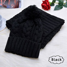 Fashion Womens Knit Handmade Hat and Scarf Winter Set Knitting Skullcaps Collars