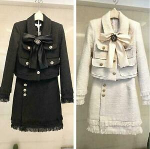 Womens Tweed Wool Blend Dress Bowknot Jacket Slim Fit  A Line Skirts 2PC Suits