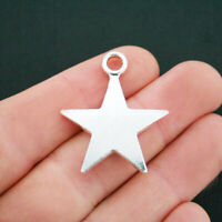 2 Large Star Charms Antique Silver Tone 2 Sided - SC5022