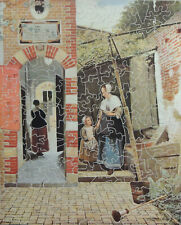 "VINTAGE ENID STOCKEN WOODEN JIGSAW PUZZLE. ""COURTYARD OF A HOUSE IN DELFT""."