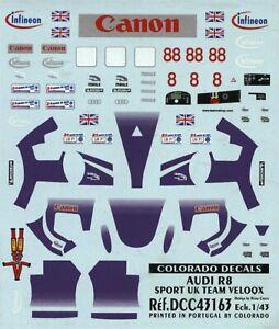 Audi R8 - Le Mans 2004 - Sport UK Team Veloqx - Car 8 or 88 - Decal
