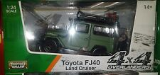 Toyota FJ40 SUV Land Cruiser Truck Die-cast Car 1:24 Motormax 7 inch Green 4x4