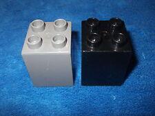 LEGO DUPLO Ritter burg da 4777 + 4785 2 X PIETRA 4er scanalata Alta Nero Grigio