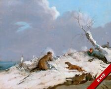 1800'S ENGLAND MEN DUCK HUNTING IN WINTER SNOW PAINTING ART REAL CANVAS PRINT