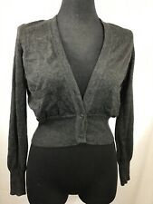 CHANEL Dark Gray 100% Cashmere V Neck Cropped Cardigan Sweater 07A Size 38
