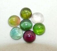 7 Pieces 5x5 mm Round Calibrated Wholesale Lot Natural Multi Tourmaline Cabochon