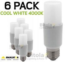 NEW 6 x MERCATOR 10W LED TUBULAR GLOBE E27 SCREW IN - COOL WHITE 4000K PACK LAMP
