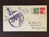1943 Butler to Harrisburg Pennsylvania USA Airplane Globe WWII Patriotic Cover