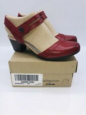 Clarks Collection Women's Valarie Rally Heeled Mary Janes Red Leather