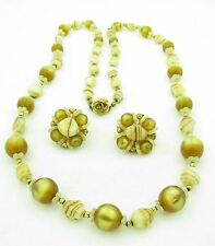Vintage Hobe Signed Swirled Glass Beaded Necklace & Earrings Demi Parure Set