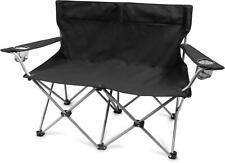Campingstuhl 2-Sitzer Doppelklappstuhl Campingsofa mit Getränkehalte bis 250 Kg