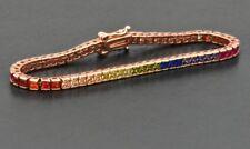 Estate Rainbow Multi Color Princess Sapphire Tennis Bracelet 14k Rose Gold Over