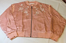 Honey Punch Womens Juniors Jacket S small satin floral bomber coat pink coral *^