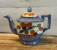 Vintage Hand Painted Teapot Bird Leaves Blue and White Made in Japan
