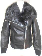 2cd05f4c569f NEW LOOK ladies jacket size 6 - black faux leather fur collar chunky zip  biker