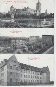 Postcard Posen Residenzschloß - Old And New Trainkaserne 1916 Army Postal