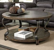Industrial Coffee Table Round Rustic Cocktail Wheeled Storage Vintage Furniture