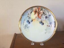 "T. Jorgensen Hand Painted Two Handled Plate ""Blackberries"" 1930's"