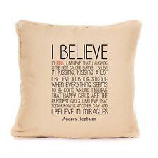 Audrey Hepburn Cushion Design I Believe Life Quote Inspirational Sofa Home Decor