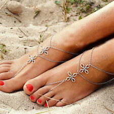 Women's Chic Multi Tassel Toe Ring Beach Bracelet Chain Link Foot Jewelry Anklet