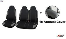 2+1 GREY SINGLE+DOUBLE SOFT FABRIC SEAT & ARMREST COVERS FOR VW TRANSPORTER T5