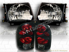 97-00 Toyota Tacoma 2WD 98-00 4WD Headlights Black & Tail Lights Dark Smoke