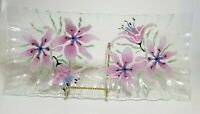 """Fused Glass Tray Pink Flowers Lily Ruffled Crimped Edges Large 15.5"""" Rectangle"""