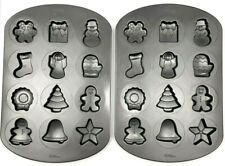 Wilton 12 Cavity Whoopie Pie Cookie Tray x2 Christmas Snowflake Angel Tree Star