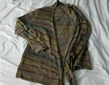 Peruvian Connection Pima Cotton Open Cardigan Sweater Jacket Brown Blue Size Med