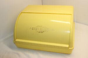 VINTAGE RETRO LUSTRO WARE YELLOW WHITE PLASTIC BREAD BOX
