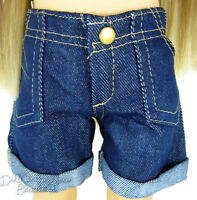 "For 18"" American Girl Detailed Dark Denim Cuffed Shorts Doll Clothes QUALITY"