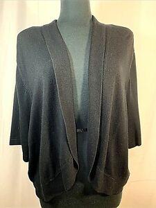 Catherines 4X Open Front Shrug S/S Cardigan Knit Black Bolero Sweater 30/32 Plus