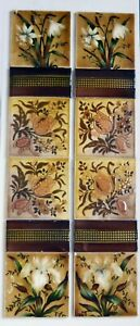 Rare Original Antique Barbotine Victorian Aesthetic Movement Fireplace Tiles