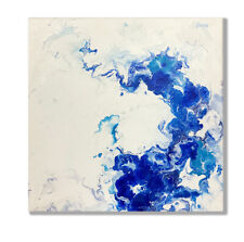 Abstract fluid art painting blue white modern canvas original ready hang floral
